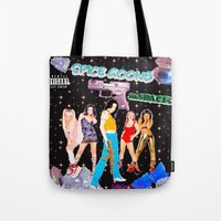 spice girls Tote Bags featuring SPICE GOONS IN SPACE  by Gabbi GOON