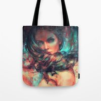 alicexz Tote Bags featuring Islands by Alice X. Zhang