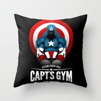 gym Throw Pillows featuring Capt's Gym by Corey Courts