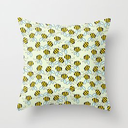 Bumble Bees of Summer Throw Pillow