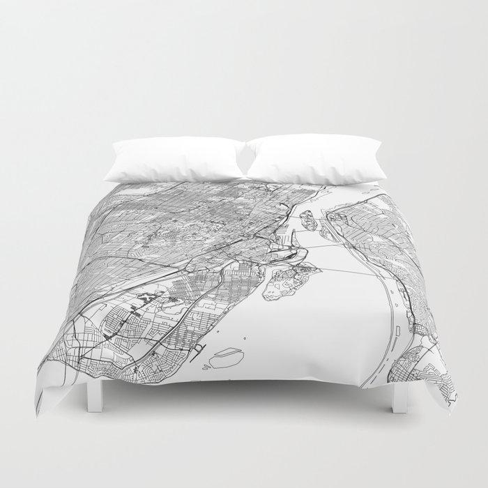 Montreal White Map Duvet Cover