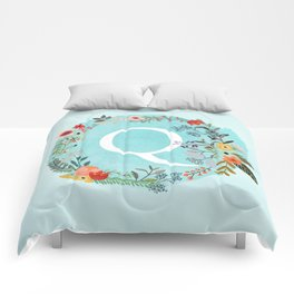 Personalized Monogram Initial Letter Q Blue Watercolor Flower Wreath Artwork Comforters