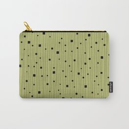 Squares and Vertical Stripes - Light Green and Black - Hanging Carry-All Pouch