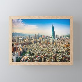 Aerial view and cityscape of Taipei, Taiwan Framed Mini Art Print