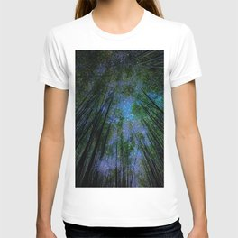 Starry Night Fantasy Bamboo Forest T-shirt