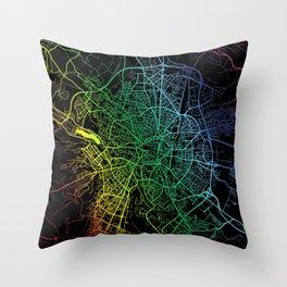 Dijon, France, City, Map, Rainbow, Map, Art, Print Throw Pillow