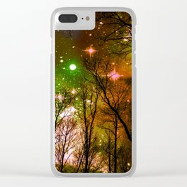 Black Trees Peach Brown Green Space Clear iPhone Case