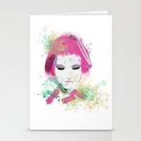 water colour Stationery Cards featuring water colour lady by rebeccalbe