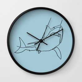 Great White Shark (blue) Wall Clock