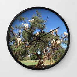 Goats in a tree Wall Clock