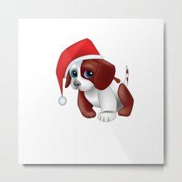 Christmas puppy dog shirt Metal Print
