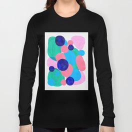 Mid Century Modern Minimalist Abstract Painting Pastel Pink Blue Teal Bubbles Cool Shapes Fun Patter Long Sleeve T-shirt