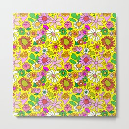 60's Lovers Floral in Sunshine Yellow Metal Print