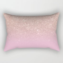 Rose gold glitter ombre on sweet lilac Rectangular Pillow