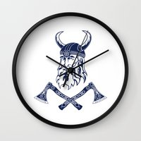 viking Wall Clocks featuring Viking by Spiro Vasilevski