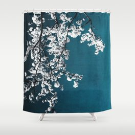 white blossoms Shower Curtain