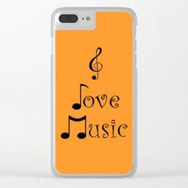 I Love Music - Tangerine Tango Clear iPhone Case