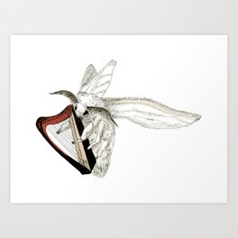 Moth Tries Harp Art Print