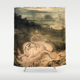 John Martin - The country of the Iguanodon 1837  Shower Curtain