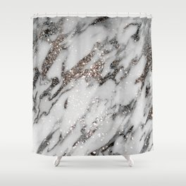 Classic White Marble Silver Glitter Glam #1 (Faux Glitter) #marble #decor #art #society6 Shower Curtain