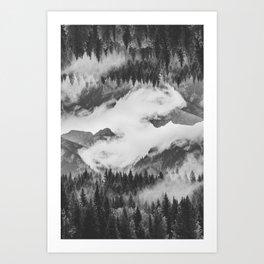 Misty Mountain II B&W Art Print