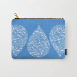 Water Drop – White Ink on Blue Carry-All Pouch