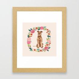 Irish Terrier floral wreath dog breed pet portrait pure breed dog lovers Framed Art Print