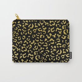 Animal Print, Leopard Spots, Glitter - Gold Black Carry-All Pouch