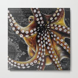 Octopus Vintage Map Colored Pencil Nautical Metal Print