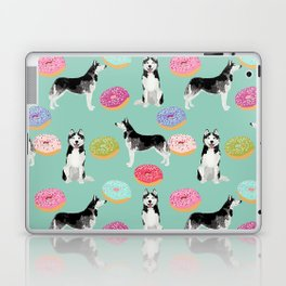 Husky donuts cute dog portrait pet friendly dog art husky puppies must have gifts for dog lover Laptop & iPad Skin