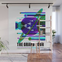 NASA Space Saturn Shuttle Retro Futuristic Explorer Blue Wall Mural
