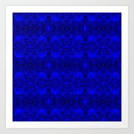 Kaleidoscope - Elephants - More Blue - Stamp Detail Art Print