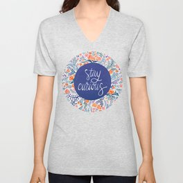 Stay Curious – Navy & Coral Unisex V-Neck