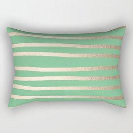 Abstract Drawn Stripes Gold Tropical Green Rectangular Pillow