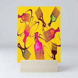 Afro Comb-Orange Mini Art Print