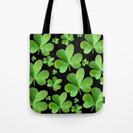 Clovers on Black Tote Bag