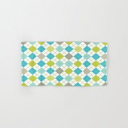 Retro 1980s Argyle Geometric Pattern in Modern Bright Colors Blue Green and Gray Hand & Bath Towel