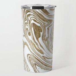 Stylish white faux gold foil elegant marble Travel Mug