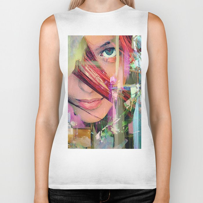 Abstract girl Biker Tank