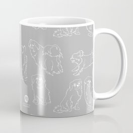 Nordic Chic White Tibbies on Light Grey Minimalist Outline Pattern Coffee Mug