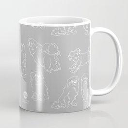 Nordic Chic White Tibbies on Light Grey Minimalist Outline Pattern Coffee Mug