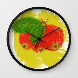 cranberry in yellow Wall Clock