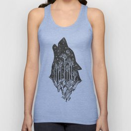 Adventure Wolf - Nature Mountains Wolves Howling Design Black on Turquoise Blue Unisex Tank Top