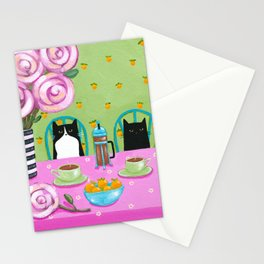 French Press Coffee Cats Stationery Cards