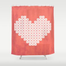 Heart X Red Shower Curtain