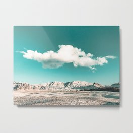 Vintage Desert Snow Cloud // Scenic Desert Landscape in Winter Fluffy Clouds Snow Mountains Cacti Metal Print
