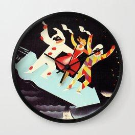 Vintage Viareggio carnival Italian travel ad  Wall Clock