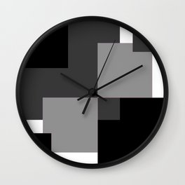 Abstract Squares Art In Grey Simple Artwork Modern Decor Gift Wall Clock