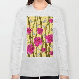 WHITE BUTTERFLIES & CERISE PINK ROSE THORN CANES YELLOW Long Sleeve T-shirt