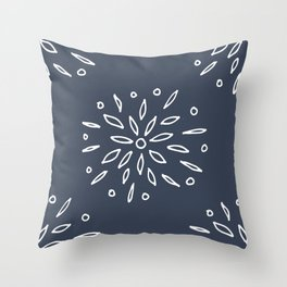 Starry Floral Pattern on Blue Throw Pillow